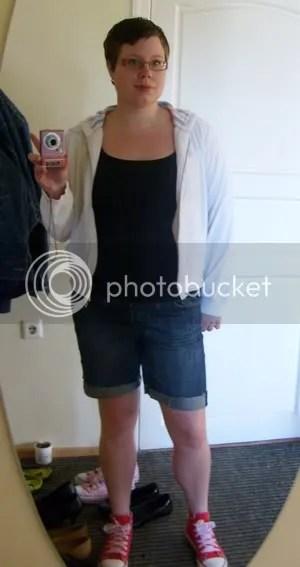 Munkjacka: Lindex, Linne: H&M, Baggyshorts: avklippta jeans från GinaTricot