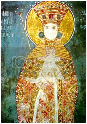 Closeup of desecrated fresco