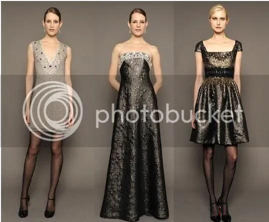 Opalscent Crystal Beaded Sleeveless (Left), Metallic Brocade Strapless Ball Gown (Center), Metallic Brocade Cap-Sleeve Cocktail Dress(Right)