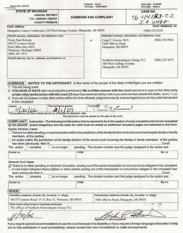Summons and Complaint Page 1