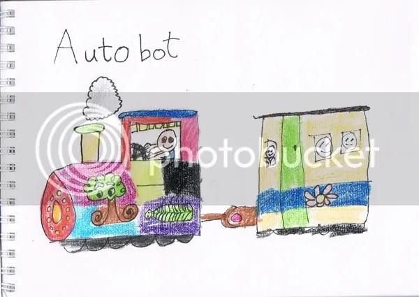 children's drawing, children's doodle,colourful train