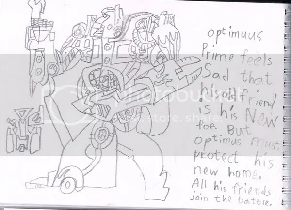 children's drawing, children's doodle,transformer, optimus prime
