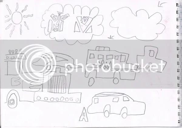 children's drawing, children's doodle, trucks