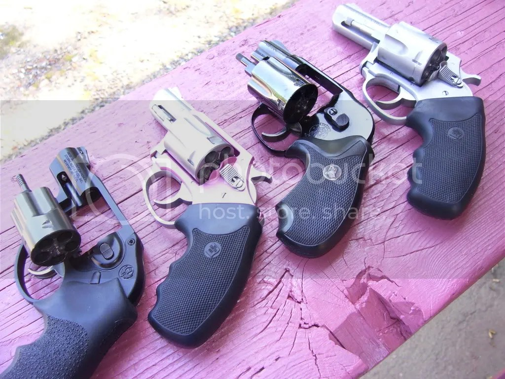 From Left: Ruger LCR, Charter Undercover, S&W M-38; Charter Bulldog .44 Spl