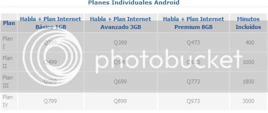 Planes Tigo con Android