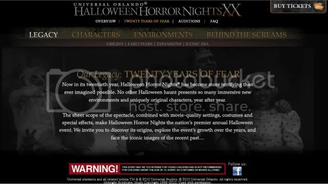 Halloween Horror Nights website
