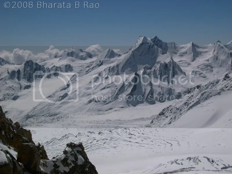 Khatling glacier and mountains beyong as seen from Auden's Col
