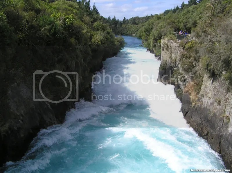 Huka Falls downstream from tourist bridge
