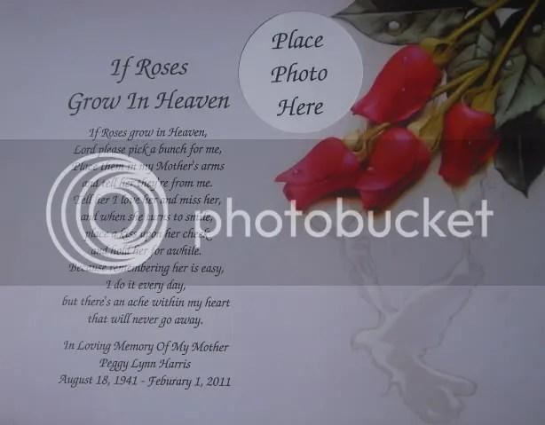 IF ROSES GROW IN HEAVEN MEMORIAL POEM FOR DECEASED MOM EBay