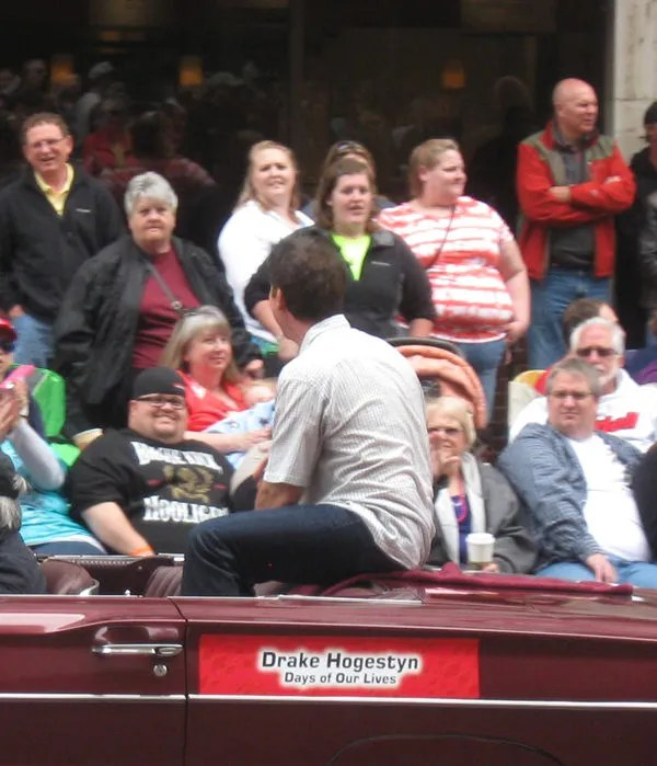 Drake Hogestyn, Days of Our Lives, back of head, 500 Festival Parade, Indianapolis, 2013