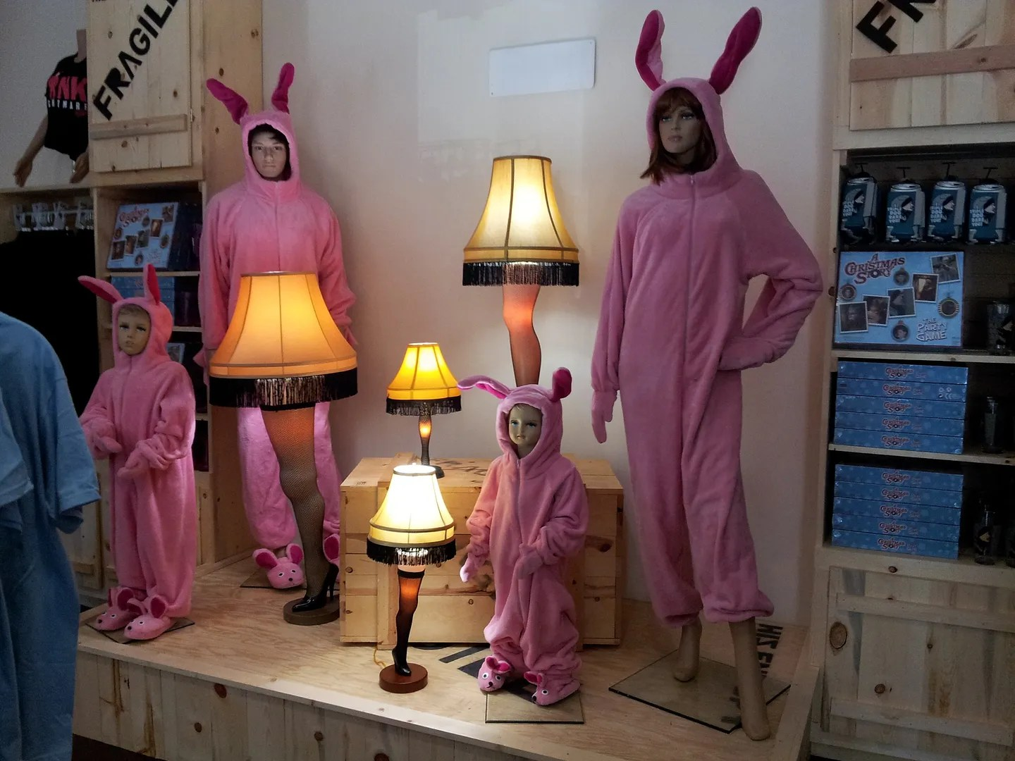 A Christmas Story, pink bunny suits, Cleveland