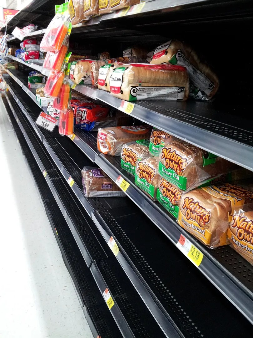 grocery bread aisle blizzard conditions doomsday prep