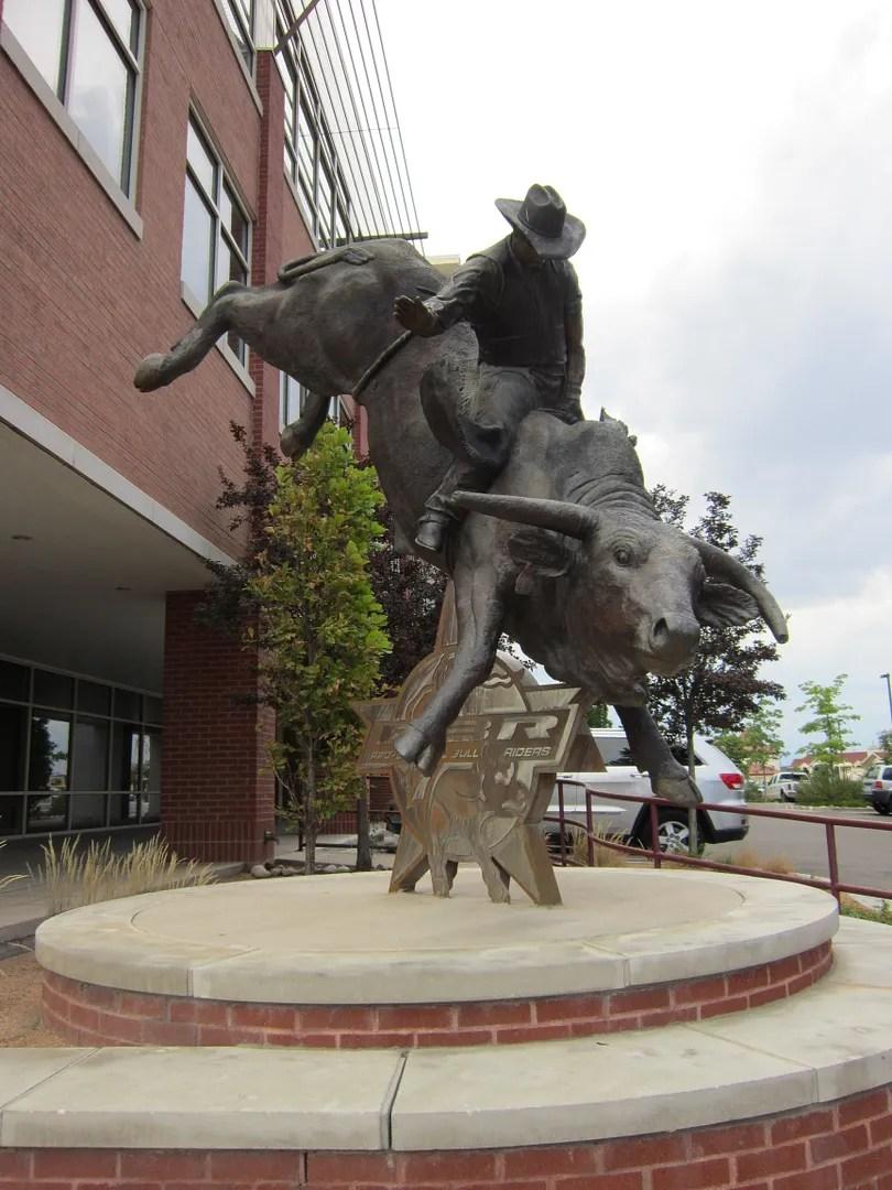 Professional Bull Riders statue, Arkansas Riverwalk, Pueblo, Colorado