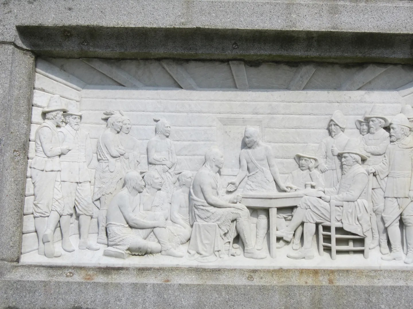 Thanksgiving frieze,National Monument to the Forefathers, Plymouth, Massachusetts