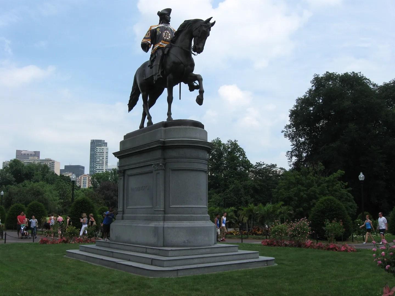 George Washington statue, Boston Bruins jersey, Boston Public Garden