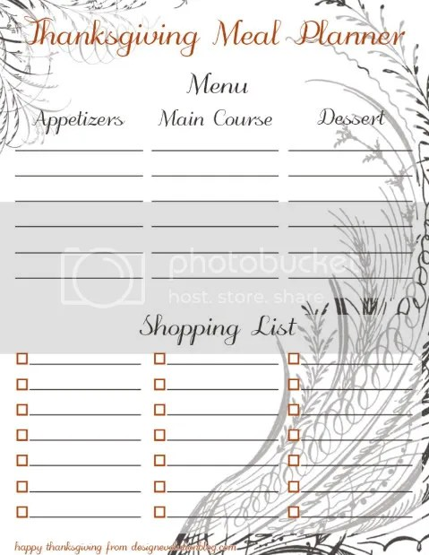Free Thanksgiving Meal Planner Download