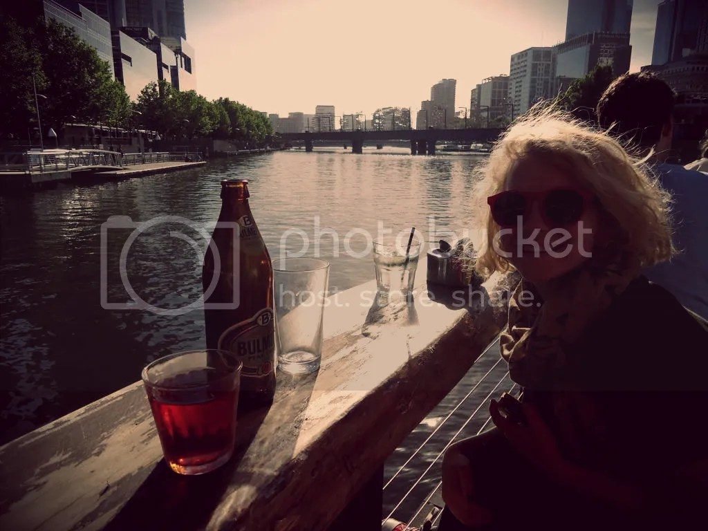 Drinks on the last day with a Perth friend @ Ponyfish Island. Melbourne was showing off on this day!