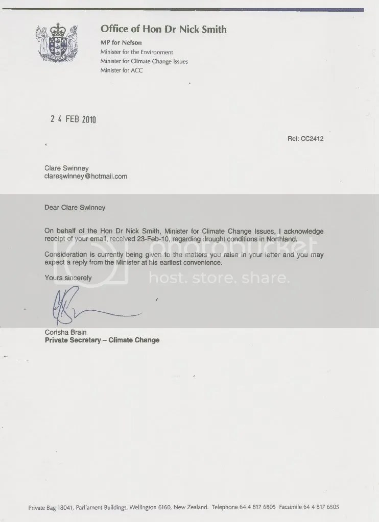 reply from nick smiths private secretary dated the 24th of feb 2010