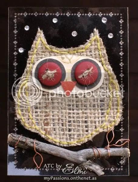 'Night Owl' ATC on dark background