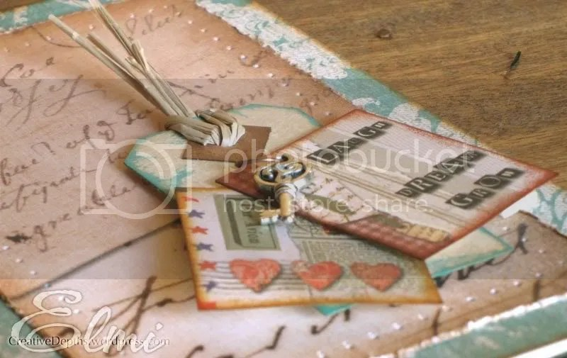Close-up of vintage handmade card