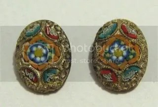 Vintage art deco micro mosaic glass earrings jewelry 1920s 1930s clip on