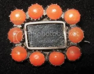 antique victorian coral mourning brooch with weaved hair
