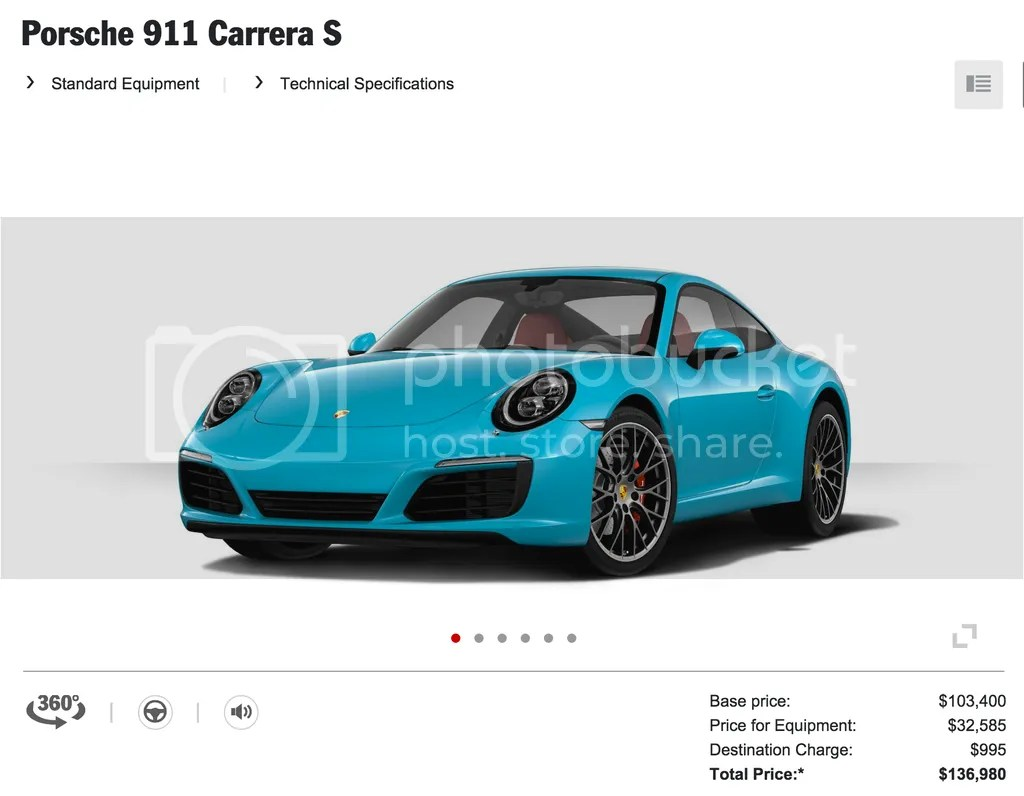 2016 Porsche 911 Carrera S Miami Blue
