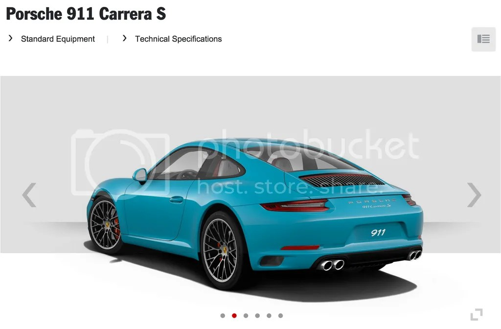 Miami Blue 2016 Porsche 911 Carrera S Rear