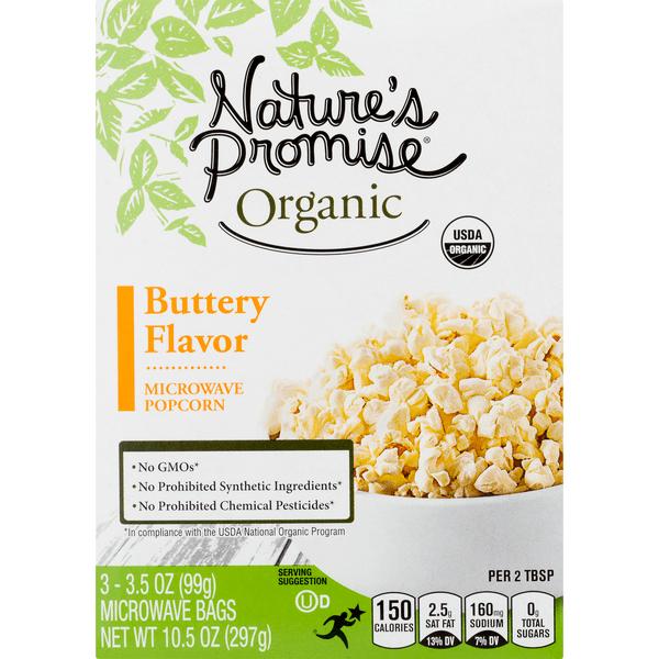 nature s promise organics microwave popcorn butter flavor