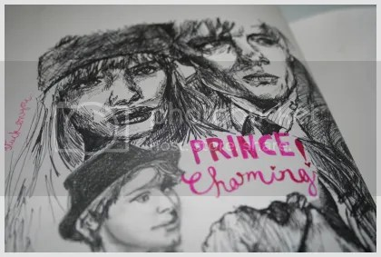 Copy of the Burberry advert in black marker, half a sketch of Gaspard Ulliel (sp? I have no idea.) in pencil, and Prince Charming! in pink ink.