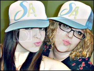 Rebecca (on left) and Jackie (on right) wearing their Scent Addicts hats!