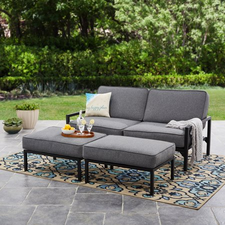 Mainstays Moss Falls 3pc Outdoor Sofa-Daybed Set - Grey ... on Outdoor Loveseat Sets  id=37386