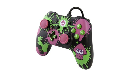 PowerA Nintendo Switch character controllers - Splatoon 2 purple and green splatter controller