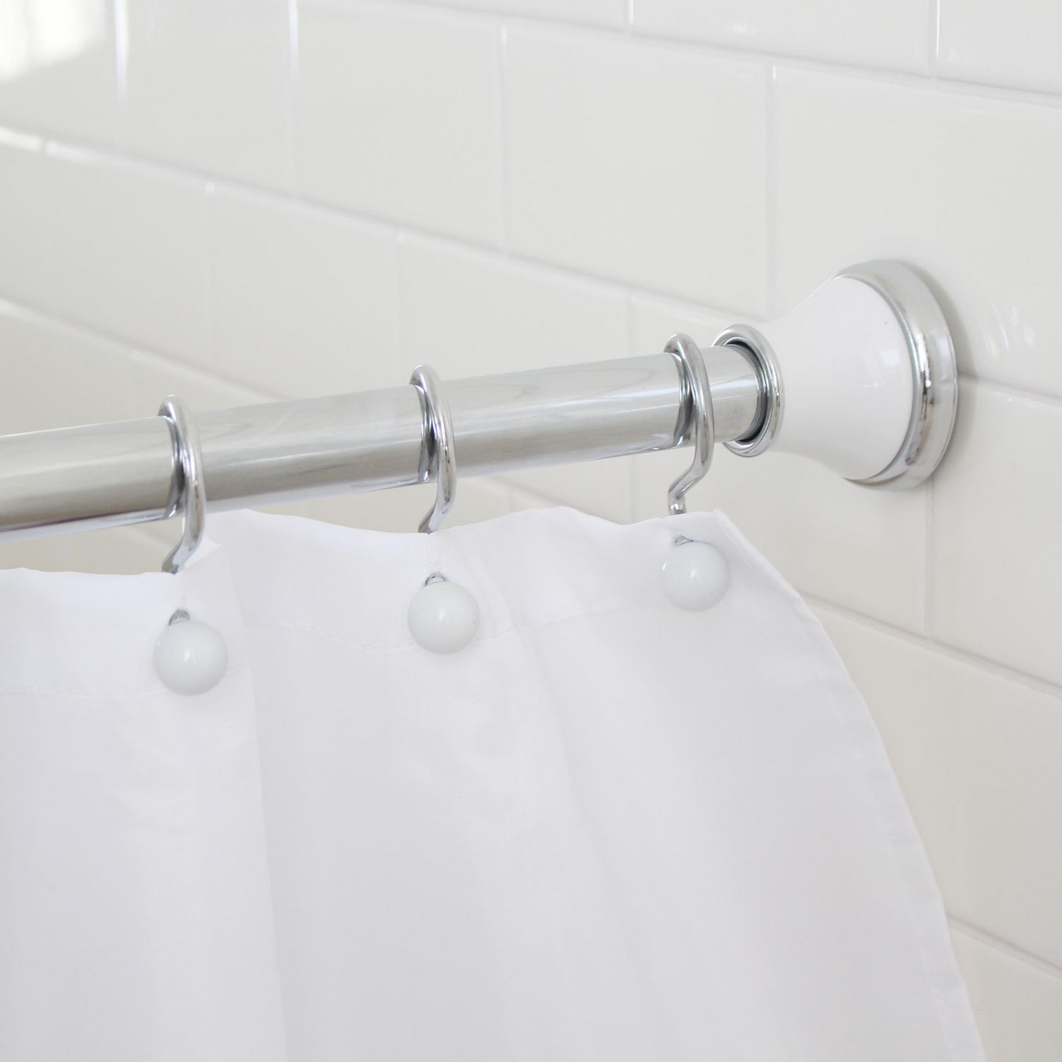 Splash Home Regal Rust Resistant Strong Hold Constant Tension Bathroom Decorative Shower Curtain Rod Extendable 42 72 Inches