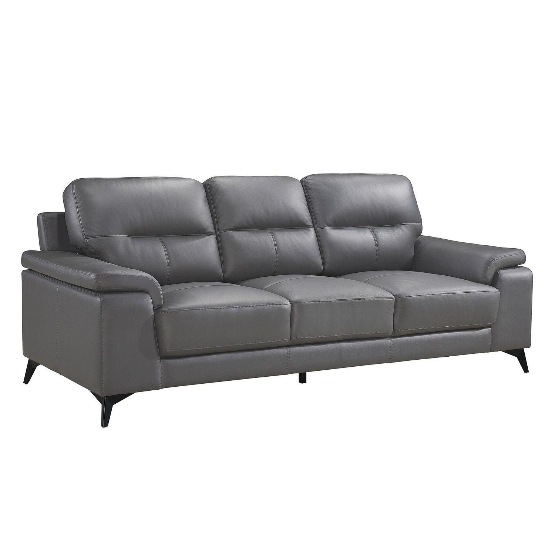 Topline Home Furnishings Dark Grey Leather Sofa Walmart Canada