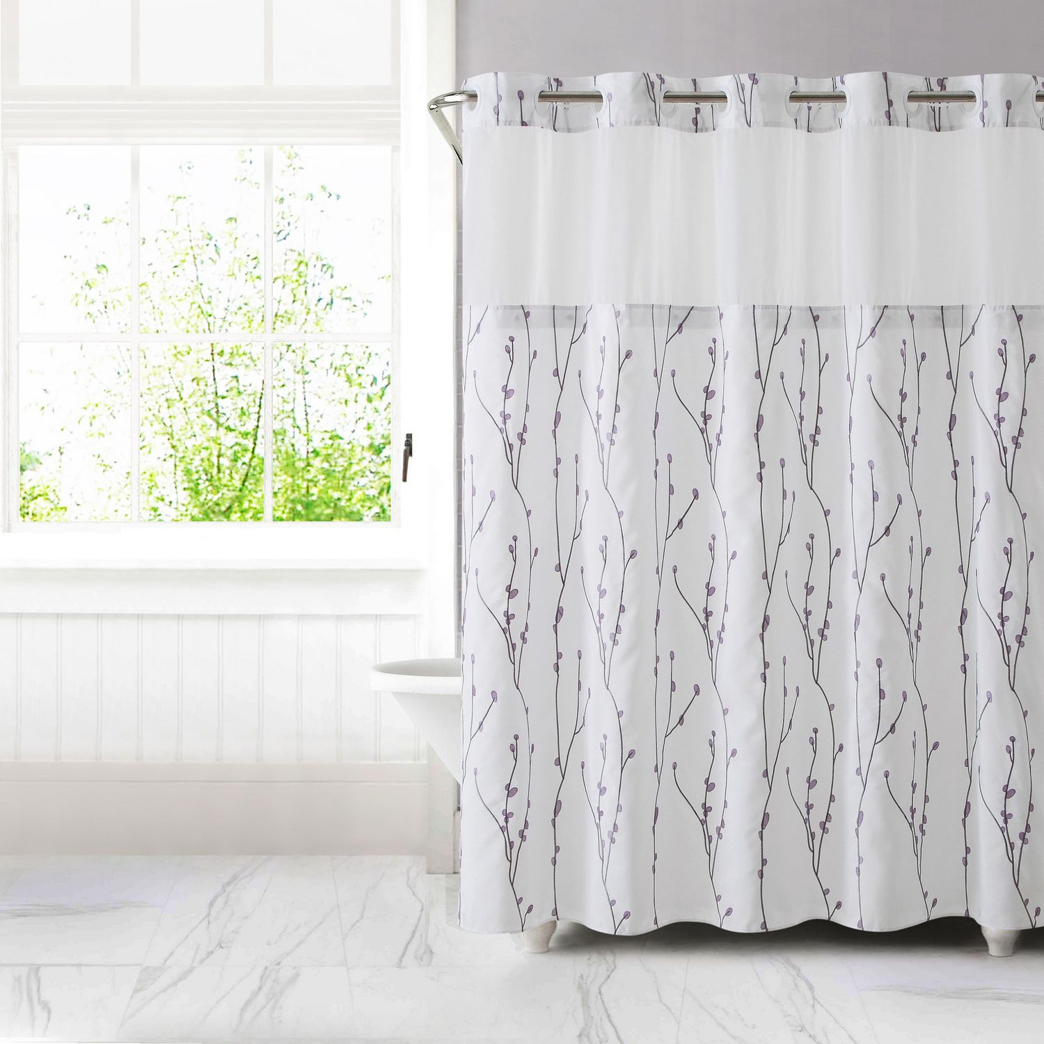 hookless brand 3 in 1 cherry bloom shower curtain