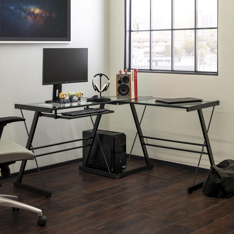 manor park bureau d ordinateur en coin de verre et de metal noir
