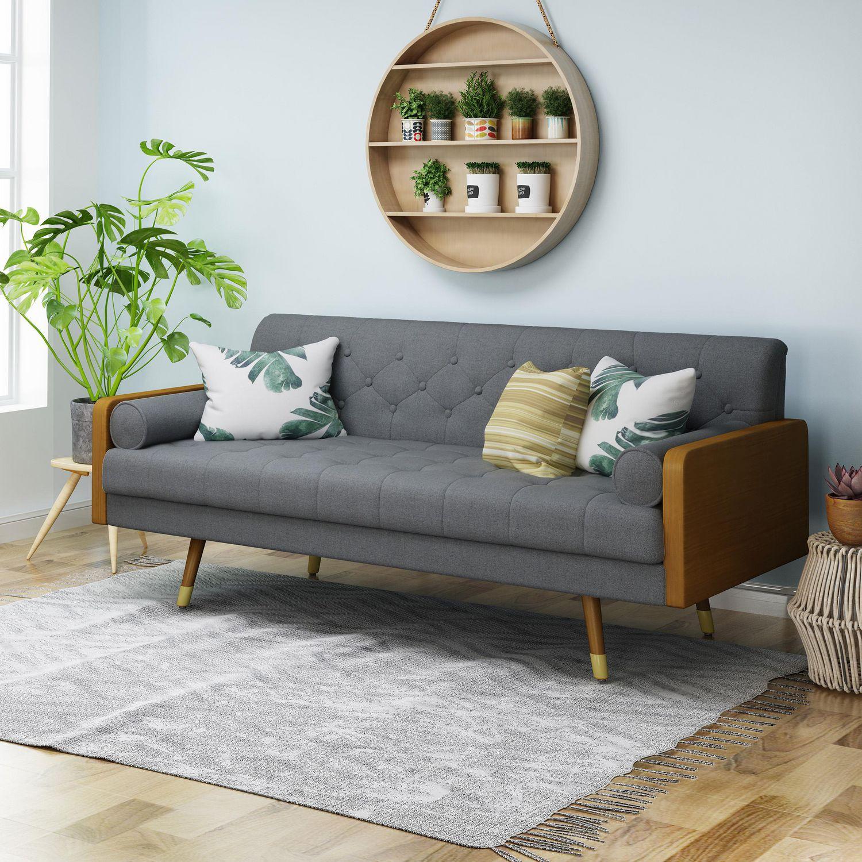 Jalon Mid Century Modern Tufted Fabric Sofa Gray Walmart Canada