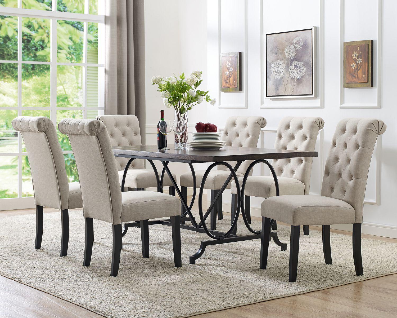 set de salle a manger 7 pieces indira table 6 chaises beige