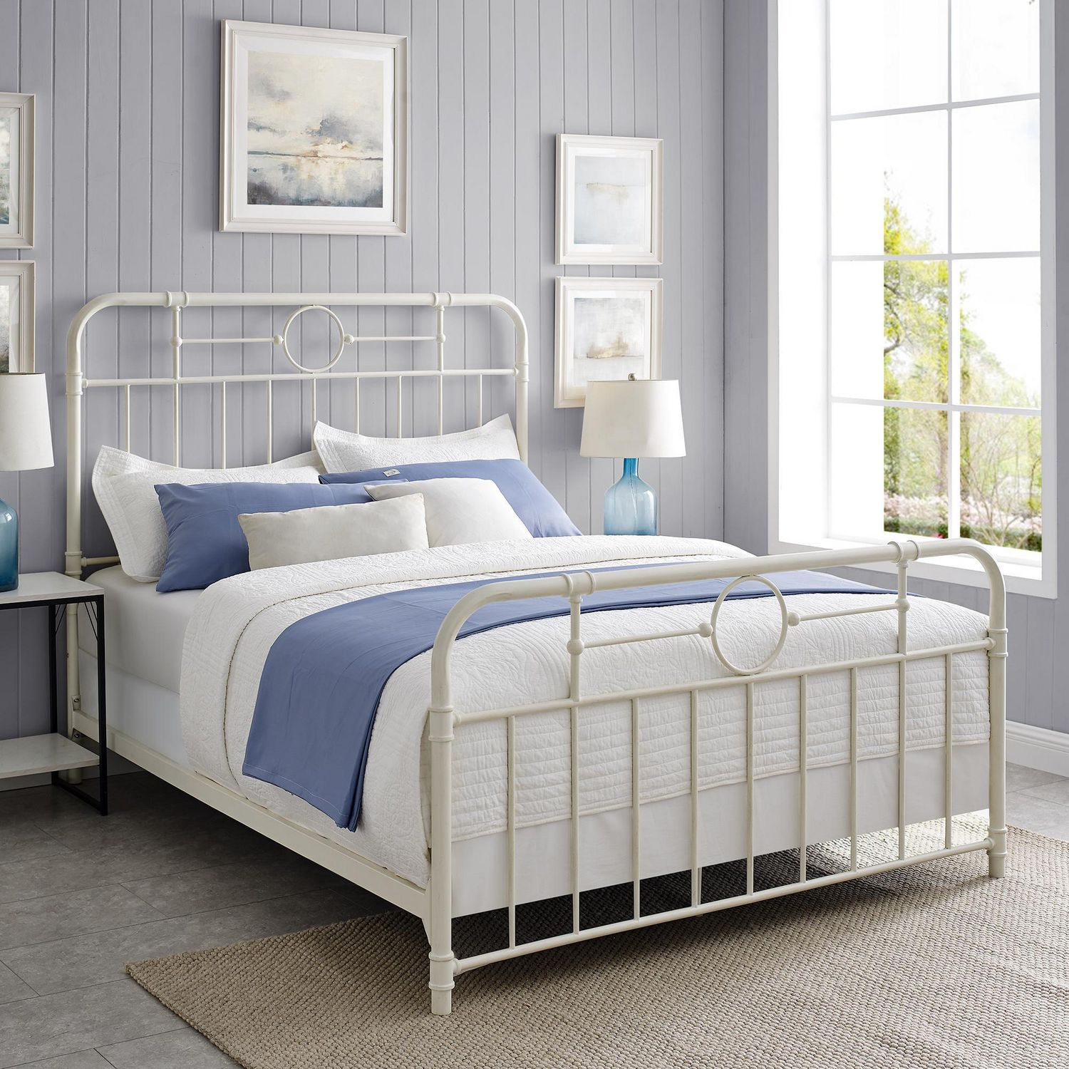 Metal Pipe Queen Bed Antique White Walmart Canada