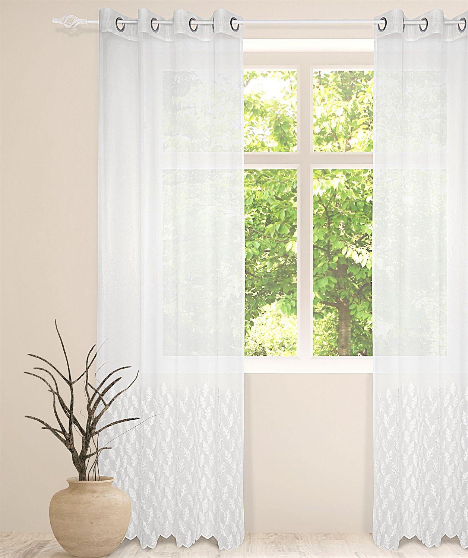 mode caricia faire une 1 panneau de rideau a œillets en applique de feuille en voile 54 x 84 po blanc