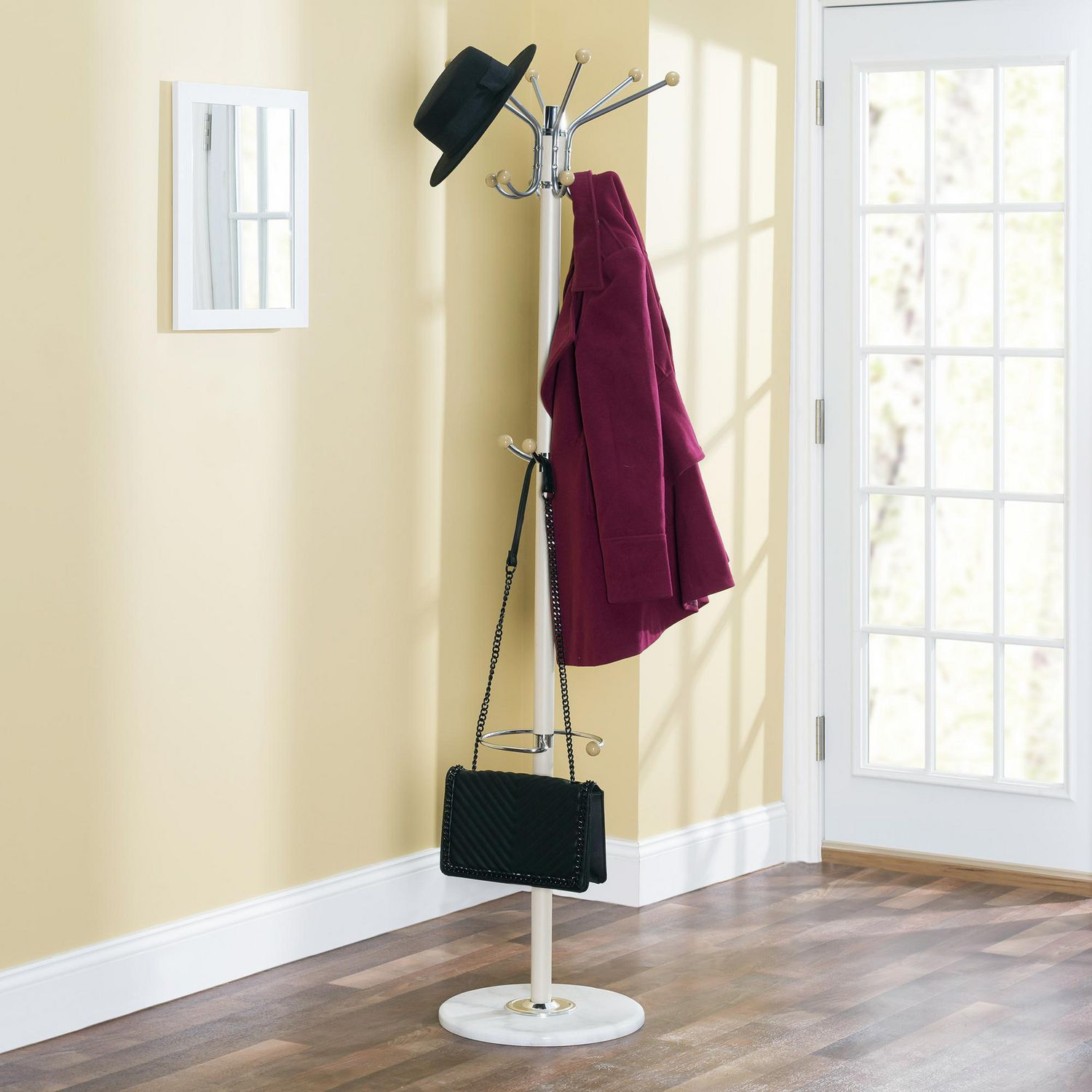 coat rack with heavy duty marble base natural