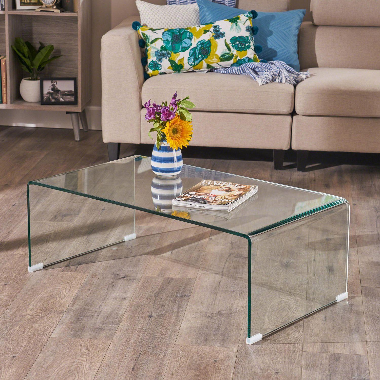 table basse parli transparente en verre trempe 12mm