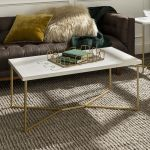 Manor Park Mid Century Modern Marble Gold Rectangle Coffee Table Multiple Finishes Walmart Canada