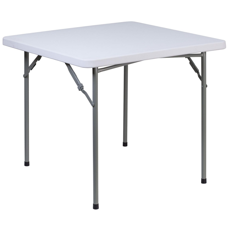 table carree pliante de 34 po en plastique blanc granite