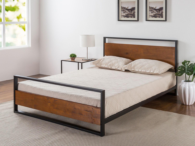 lit a plateforme en metal ironline et bois avec tete de lit et pied de lit de zinus