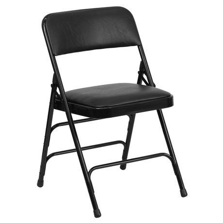 chaise pliante de la collection hercules de flash furniture en tissu noir et en metal