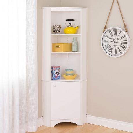 armoire haute de coin prepac elite a une porte en blanc