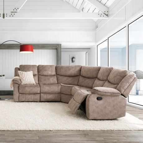 corliving syracuse 5pc curved modular reclining sofa sectional