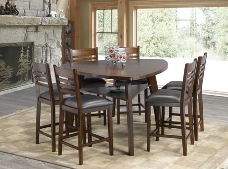 Brassex Inc Emery 7 Piece Pub Set Dark Walnut Walmart